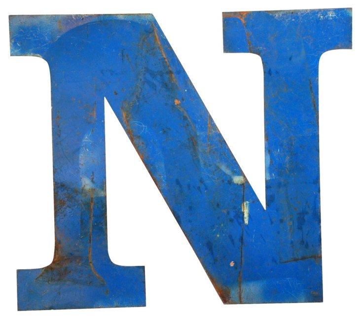 Blue Metal Marquee Letter N