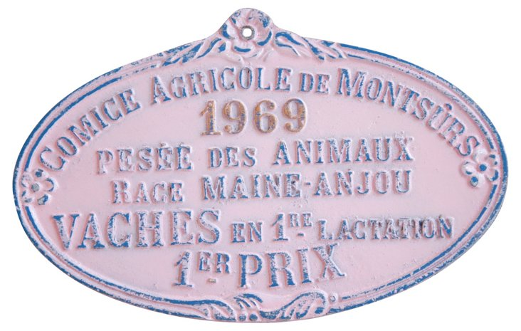 1st Place French Award Plaque, 1969