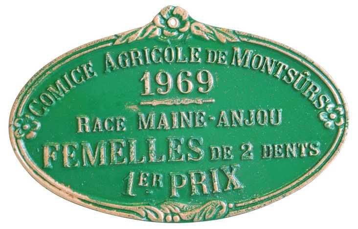 French Agricultural Trophy Plaque, 1969