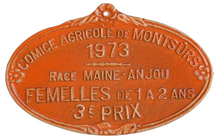 French Award Prize Plaque, 1973