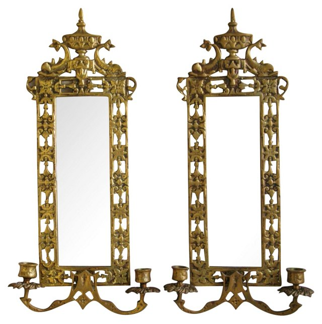 Brass Mirrored Candle  Sconces, Pair