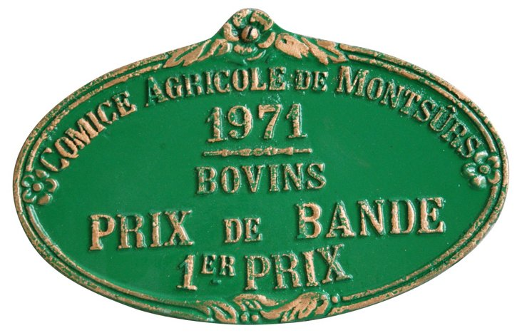 French Trophy Awards Plaque, 1971