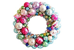 Soft Pastel Holiday Ornament Wreath