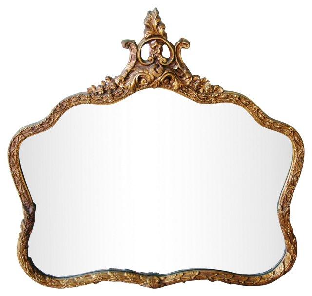 1920s Giltwood  Mirror w/ Floral  Motif