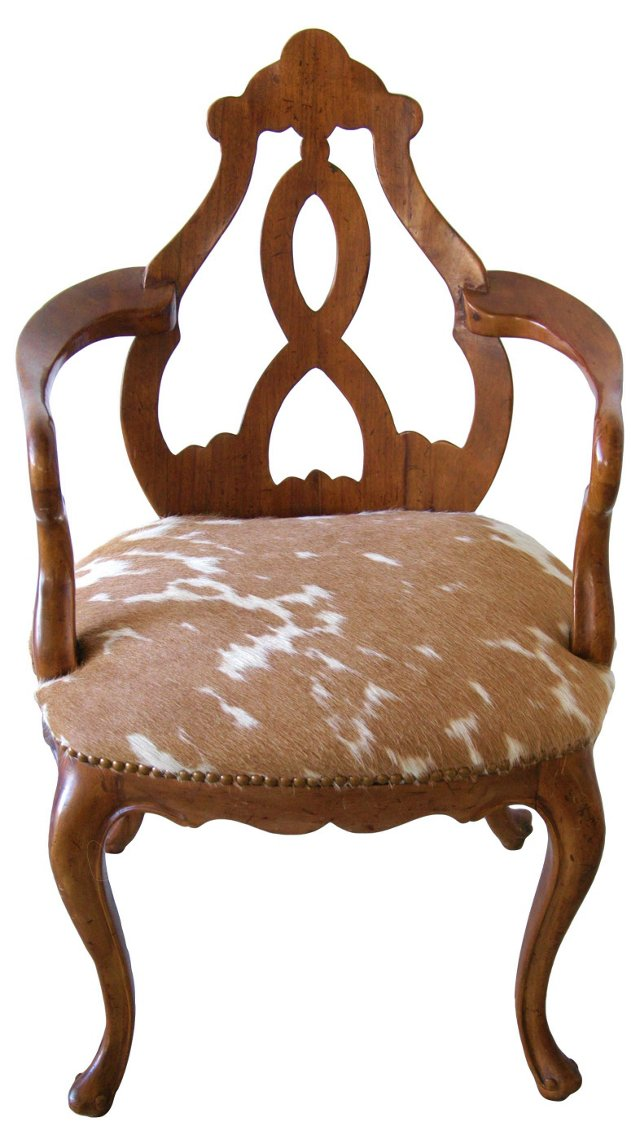 1920s Carved Italian Chair w/ Cowhide