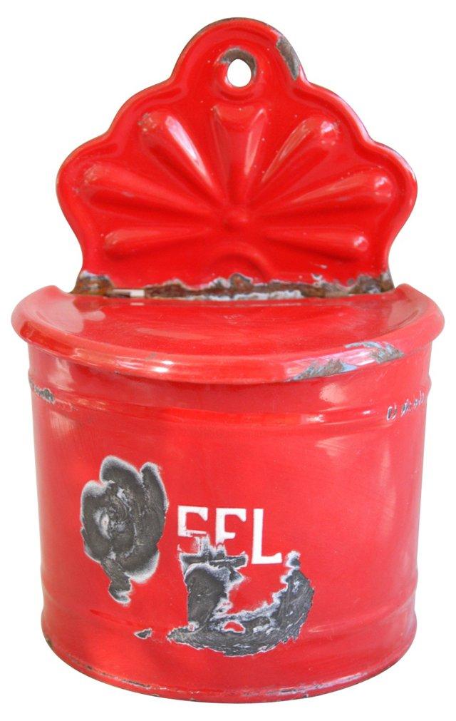 1930s  French Enameled Salt Box