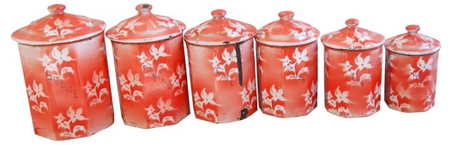 1940s French Enameled Canisters, S/6