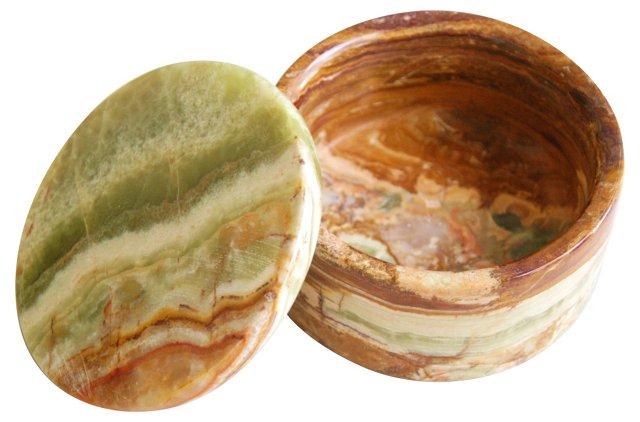 Round Onyx & Marble Trinket Box