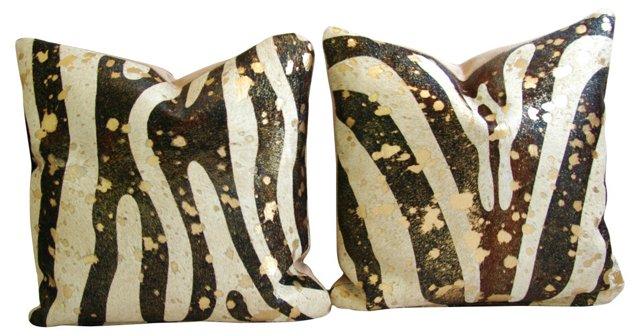 Zebra-Stripe & Gold      Pillows, Pair