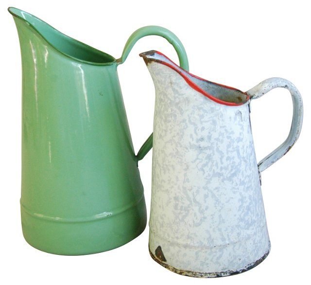 French Enamel Water Pitchers, Pair