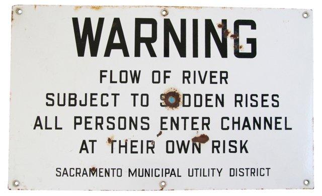 1960s Metal Warning Sign