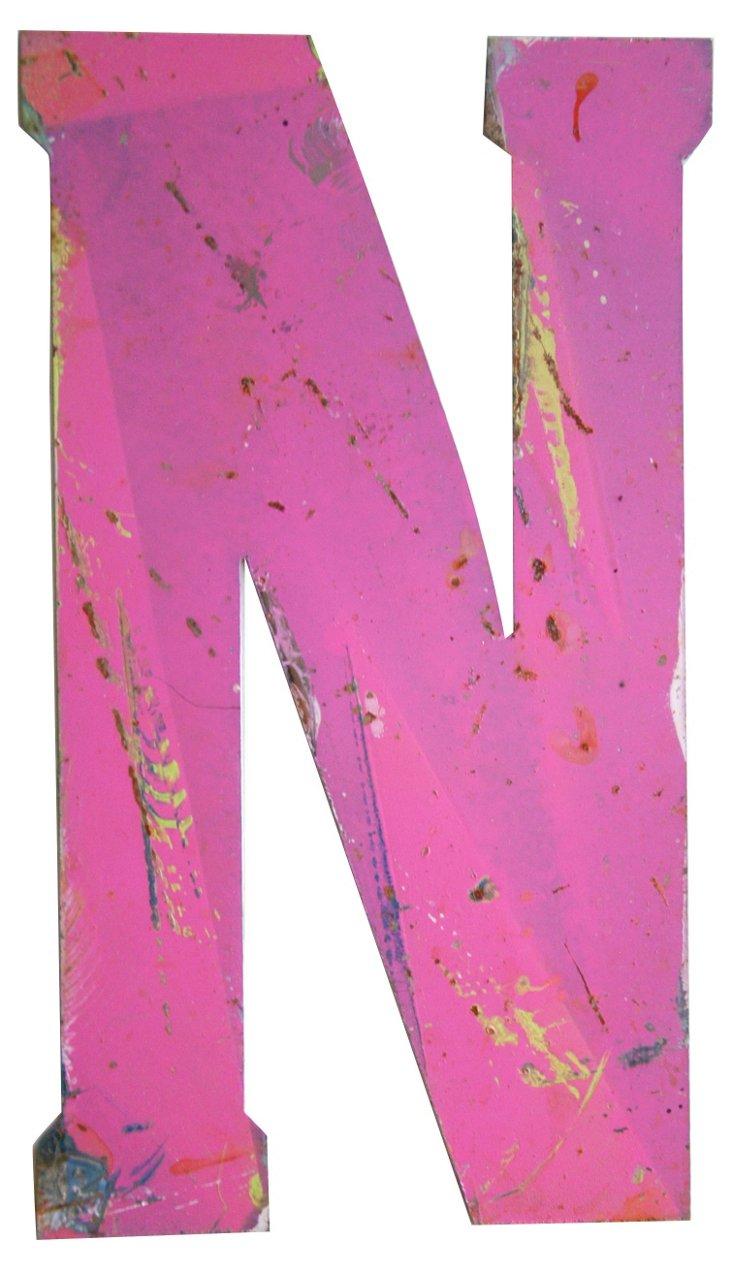 Pink Metal Marquee Letter N