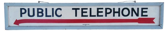 1960s Hand-Painted Public Telephone Sign