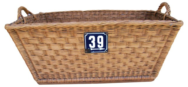 French Willow Basket w/ Number Plate