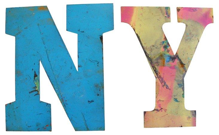 N & Y Metal Marquee Letters, 2 Pcs