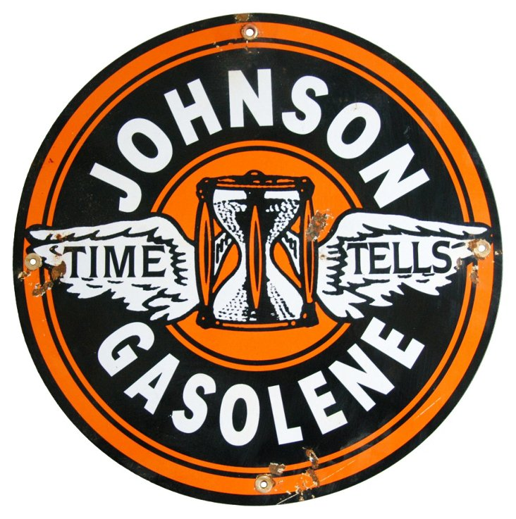 Metal & Porcelain Johnson Gasolene Sign
