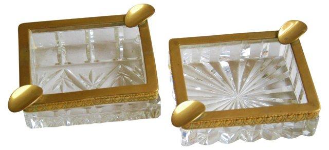 1950s Cut Crystal & Brass Ashtrays, Pair