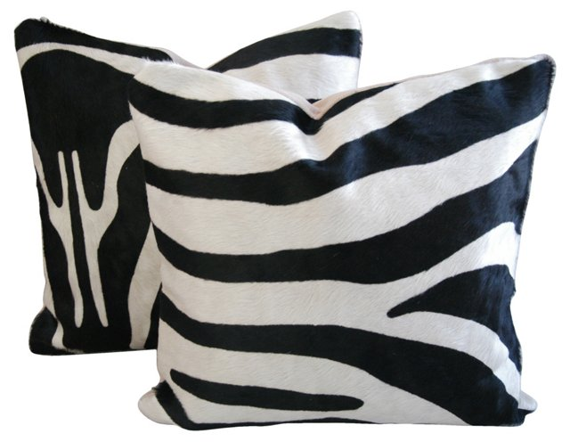 Zebra-Stripe  Cowhide Pillows, Pair