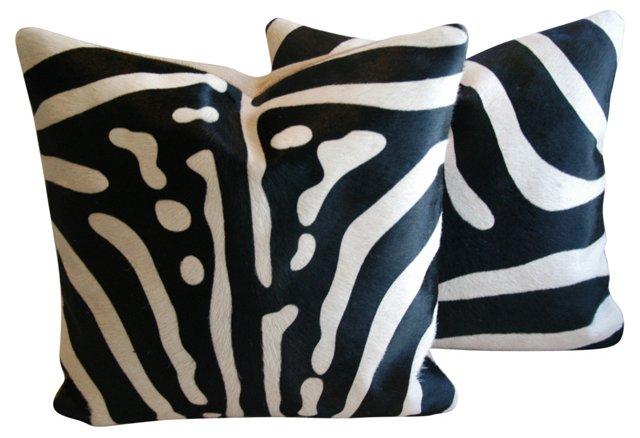 Zebra-Stripe   Cowhide Pillows,    Pair