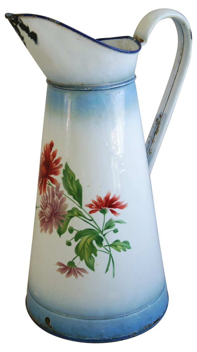 1920s Hand-Painted Enameled Pitcher