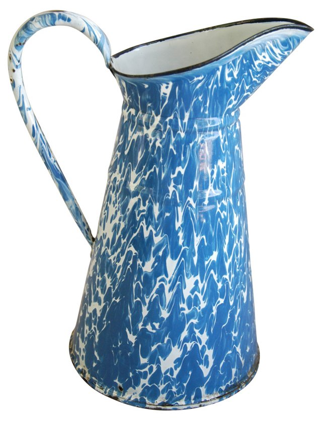 1940s     French Enameled Pitcher