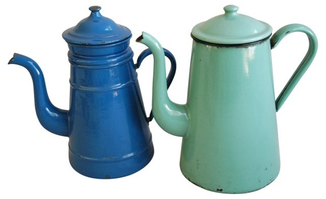1940s French  Enamel Coffeepots, Pair