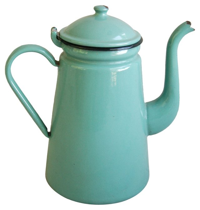 French Enameled Porcelain Coffeepot