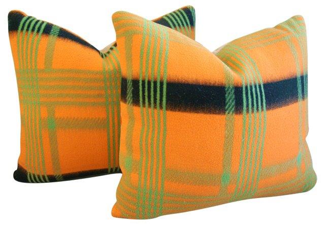 English   Wool Blanket Pillows, Pair
