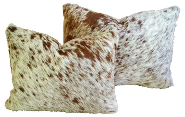 Rusty-Red   Cowhide Pillows, Pair