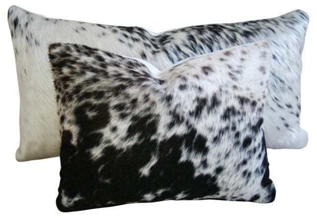 Freckled   Cowhide  Pillows, Pair
