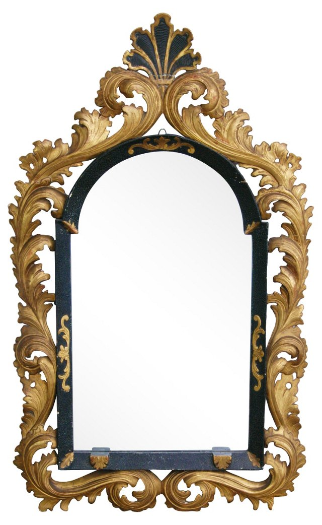 Antique Carved Wood & Gesso Mirror