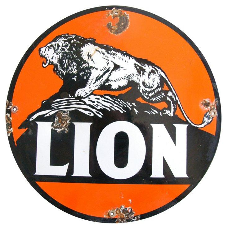 Porcelain on Metal Lion Sign