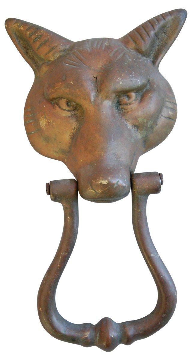 1930s Brass Fox Door Knocker