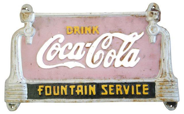 1950s Metal Coca-Cola Soda Fountain Sign