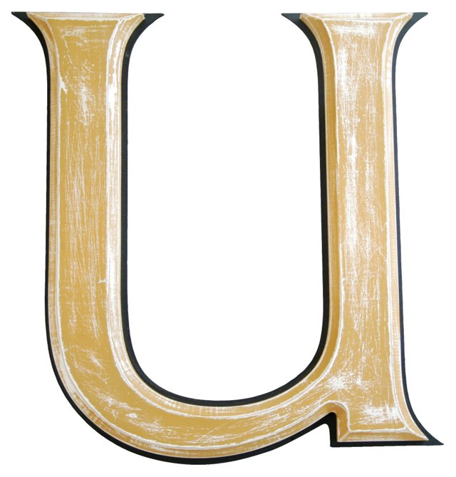 Wooden     Marquee    Letter U