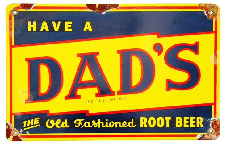 Porcelain Dad's Root Beer Sign