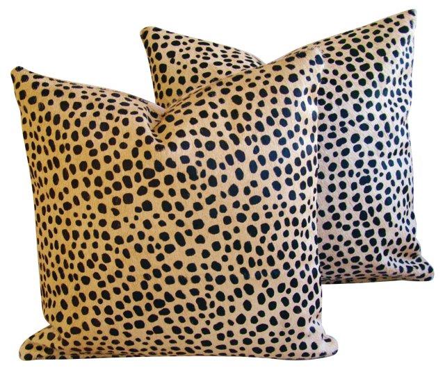 Cheetah-Spot   Cowhide Pillows,  Pair