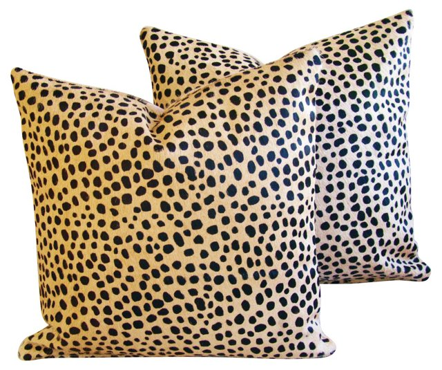 Cheetah-Spot  Cowhide   Pillows,    Pair