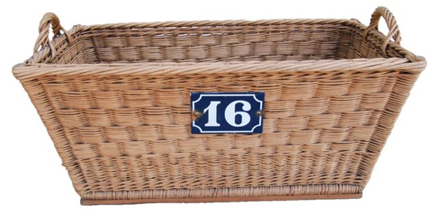 French Woven Basket    w/ Number Plate