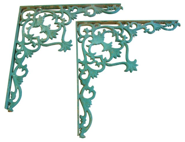 1950s     Iron Wall Brackets, Pair