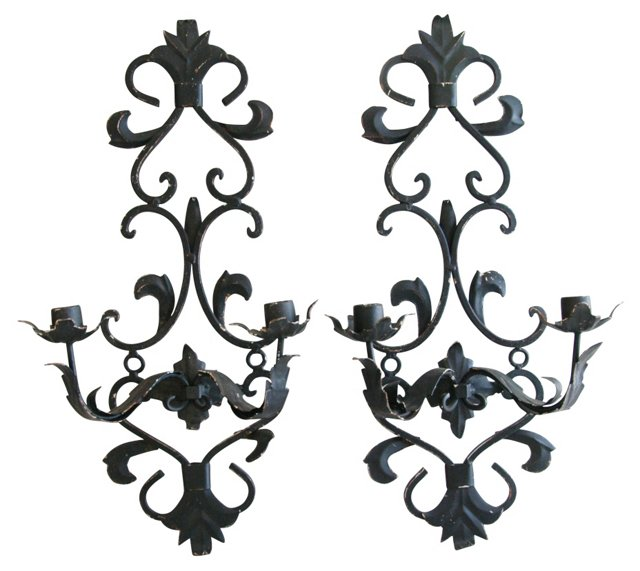 1950s Iron Candle Sconces, Pair