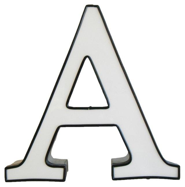 White, Black & Chrome Marquee Letter   A