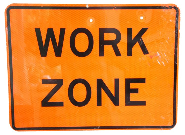 Metal Work Zone Construction Sign