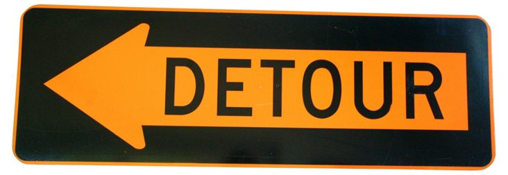 Metal Detour           Arrow Sign