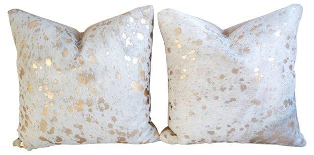 Metallic    Gold   Cowhide Pillows, Pair