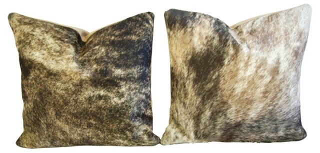 Tri-Color Brindle Cowhide Pillows, S/2