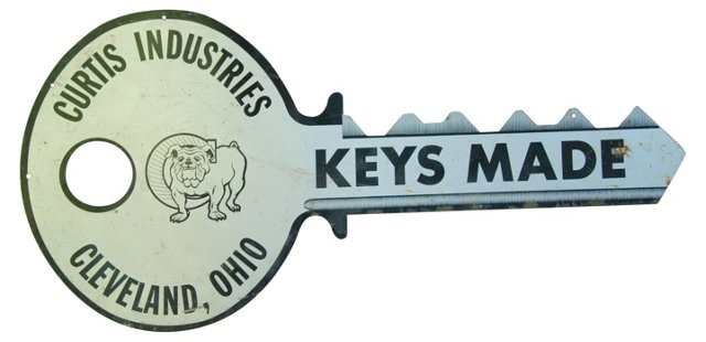 1950s Double-Sided Metal Keys Made Sign