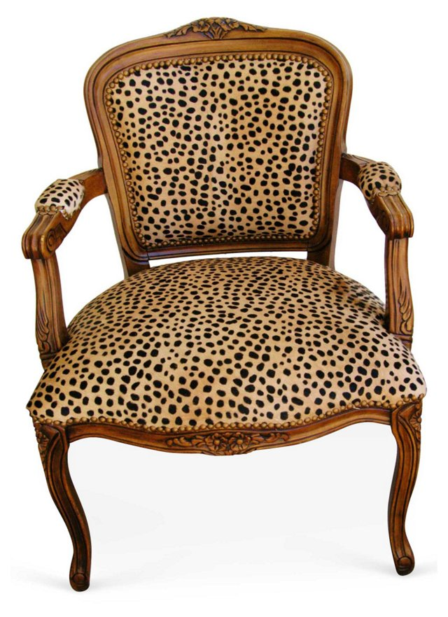 French  Provençal-Style Chair w/ Cowhide