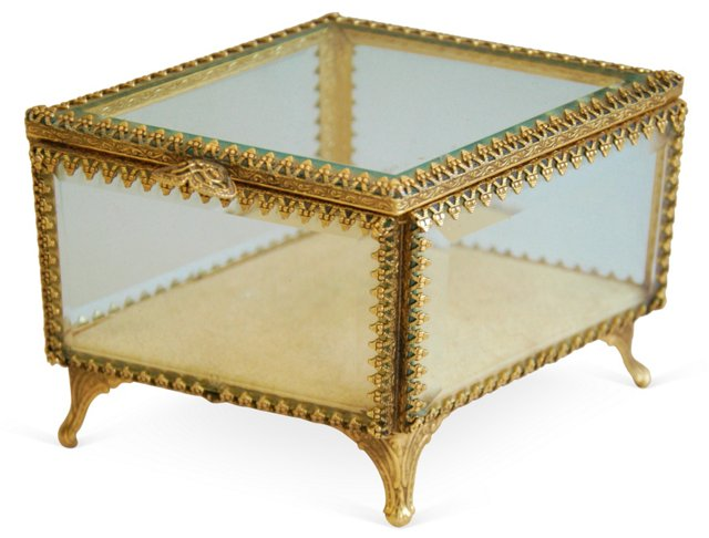 1950s Beveled Glass Jewelry          Box