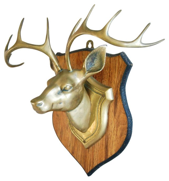 1960s Mounted Brass Stag's      Head